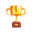 golden trophy cup cartoon vector image vector image