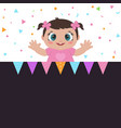 greeting card with little girl greeting card with vector image vector image