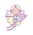 happy valentines day cute cupid with hearts vector image vector image