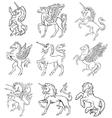heraldic unicorns vector image vector image