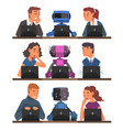 humans vs robots set business people and androids vector image