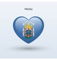 Love Melilla symbol Heart flag icon vector image vector image
