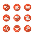Love red round flat icons set vector image vector image