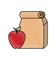 lunch bag in paper bag with apple vector image vector image