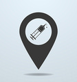 Map pointer with a syringe symbol vector image vector image