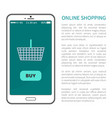 online shopping poster mobile phone and basket vector image vector image