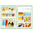Open fridge with food vector image