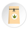 paper bag of medical marijuana icon circle vector image vector image