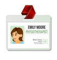 physiotherapist identification badge woman vector image vector image
