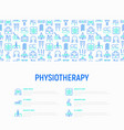 physiotherapy concept with thin line icons vector image vector image