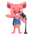 pig with microphone on white background vector image vector image