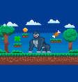 pixelated gorilla cartoon pixel wild vector image