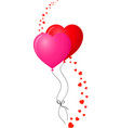 red and pink balloons with hearts wave decor vector image