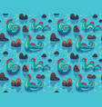 seamless pattern with cute loch ness vector image vector image