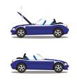 set of broken cartoon navy blue cabriolet sport vector image