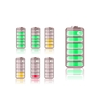 Set of Vertical Shiny Battery Icons vector image