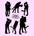 silhouette kissing couple vector image