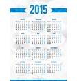 Simple 2015 year European calendar grid vector image