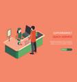 supermarket service horizontal banner vector image vector image