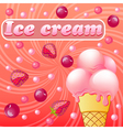 Sweet pattern with fruit ice-cream with strawberri vector image vector image