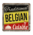 traditional belgian cuisine vintage rusty metal vector image vector image