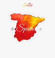 Travel around the world Spain Watercolor map vector image vector image