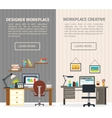 Two Interior Working Place Banner Set vector image vector image