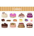 various delicious desserts vector image vector image