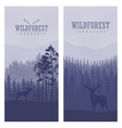 Vertical abstract banners of wild deer in forest vector image