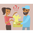 Woman upset by a parcel with defective goods vector image vector image