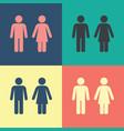 male female wc icon set vector image