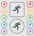 running man icon sign symbol on the Round and vector image