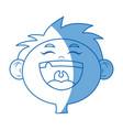 cartoon face boy happy celebration image vector image