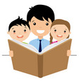 dad reading a story to her children vector image