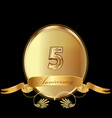 5th golden anniversary birthday seal icon vector image vector image