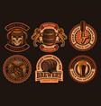 a set vintage beer emblems vector image vector image