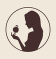 beautiful female silhouette in profile vector image