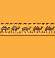 border with camel caravan and ethnic motifs vector image vector image