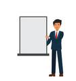 businessman showing white presentation board vector image vector image