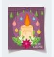candle trees and balls decoration celebration vector image