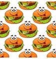 Cartoon cheeseburger seamless pattern vector image vector image