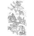 cartoon halloween vampire and witch vector image