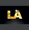 combination letter la l a gold golden alphabet vector image vector image