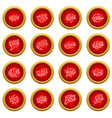 comic sound icon red circle set vector image vector image