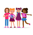 cute girls having fun standing together vector image vector image