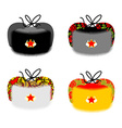 Earflaps Russian traditional folk hat National vector image