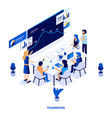 flat color modern isometric design - teamwork vector image vector image