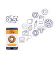 food delivery poster with foods and smartphone app vector image
