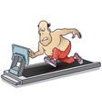 funny little men fat man on treadmill sports vector image vector image