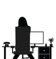 girl beauty in office silhouette vector image vector image